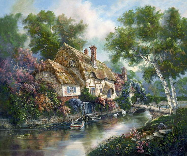 Stonewall Cottage by Carl Valente ~ English countryside ~ stream ~ rowboat