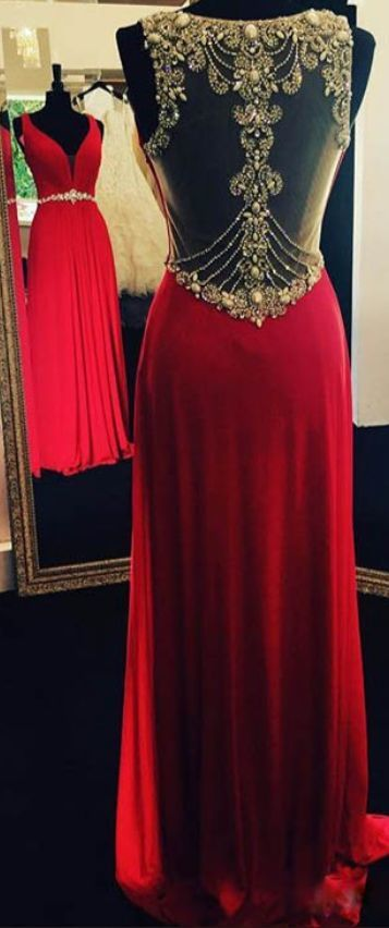 2017 Custom Made Red Chiffon Prom Dress,Beading Evening Dress,See Through Back Party Gown,Sleeveless Prom Dress,High Quality