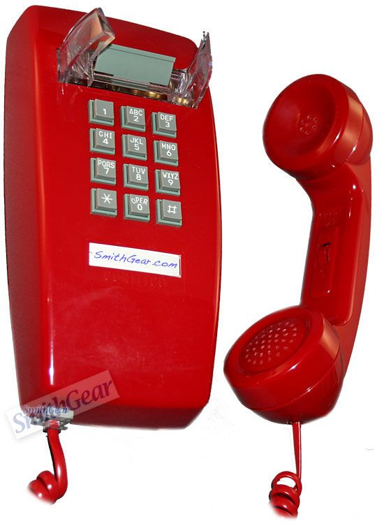 Old Style Corded Wall Kitchen Phone Red Traditional Home Electronics