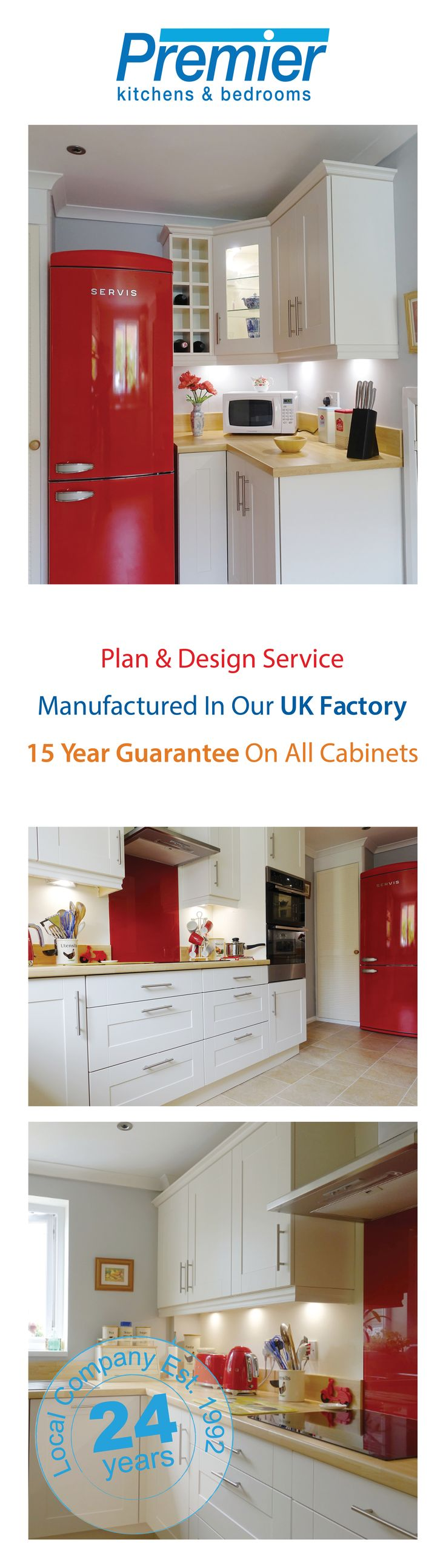 Take a look at these photographs of a recently completed red themed shaker style Premier Kitchen. Thank you to Mr Graham for letting us share these photos of their finished room. If you would like to create your own bespoke design visit www.premier-kitch... to book a 3D Plan and Design Appointment. Stunning showrooms in Cambridge, Peterborough, Lincoln, Bedford, Northampton and Wellingborough