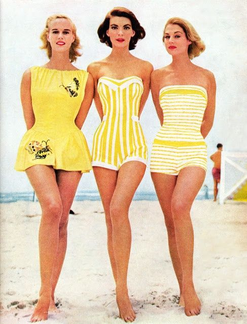 Three beautiful bathing suits in yellow from 1959