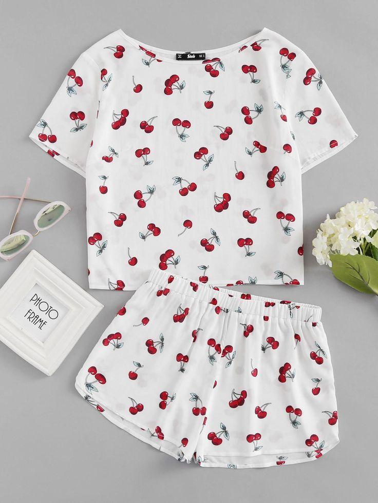 6c68262651 SheIn - #SheIn Cherry Print Top And Shorts Pajama Set - AdoreWe.com ...