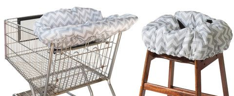 RITZY SITZY™ Shopping Cart and High Chair Cover- Grey Chevron - Cute as a Button Baby Boutique