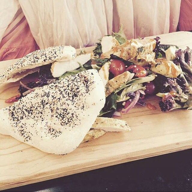MEDITERRANEAN SALAD // w mesclun, olives, Persian fetta, cucumber, cherry tomato, roasted capsicum, homemade balsamic vinaigrette, Noci home-made bread.
