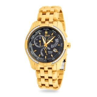 Citizen eco drive, online watch, bl8043-51e, watches, black dial, goldband, stainless steelband, japanese-made, automatic, eco-drive: 1.5 year power reserve(in power save mode).  mineral glass with non-reflective coating. 36 diamonds, alarm, dual time, 12