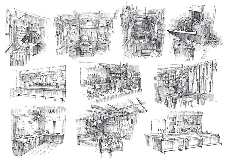 How to draw a village historical buildings interior of for Drawing hall interior