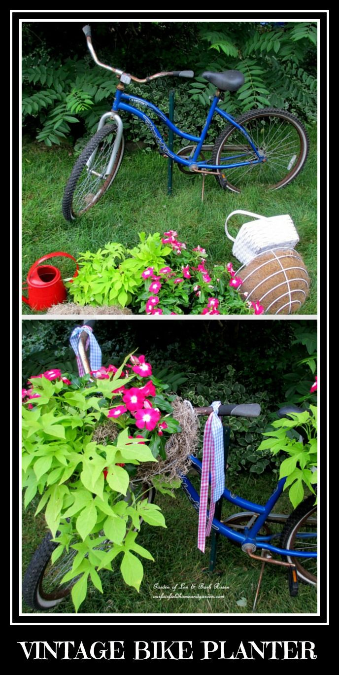 DIY ~ Vintage Bike Planter   http://ourfairfieldhomeandgarden.com/diy-project-my-bicycle-planter/