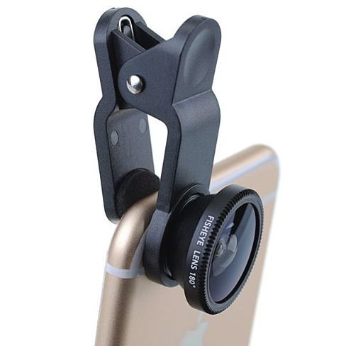 The 3-in-1 Lens kit for smart phone is portable, detachable and easy to install. Just clip to your phone/tablet and get three high quality lenses, 180° Fish eye, Wide-angle and Macro Lens. Compatible with any device.