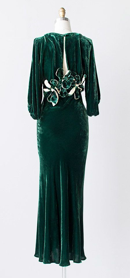 ~vintage 1930s green silk velvet gown dress~.
