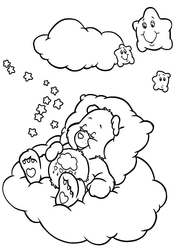 Care Bear Care Bear Falling Asleep Coloring Page Bear Coloring Pages Disney Coloring Pages Coloring Pages