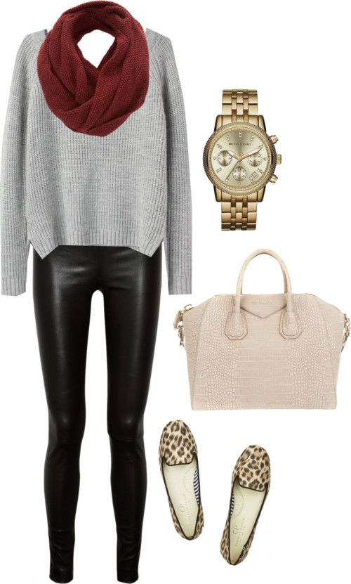 leopard loafers pleather black leggings creme nude bag gold watch wine scarf and grey sweater .