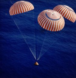 SPLASHDOWN 1972 – On December 19, 1972, the Apollo 17 spacecraft reentered Earth's atmosphere and landed safely in the Pacific Ocean 6.4 kilometers (4.0 mi) from the recovery ship, the USS Ticonderoga. Astronauts Gene Cernan, Ron Evans, and Jack Schmitt were then retrieved by helicopter and on board the recovery ship 52 minutes after splashdown. (NASA