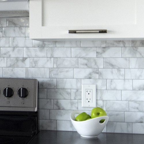 "Found it at Joss & Main - Barcelona 11.56"" x 8.38"" Peel & Stick Subway Tile in White and Gray"