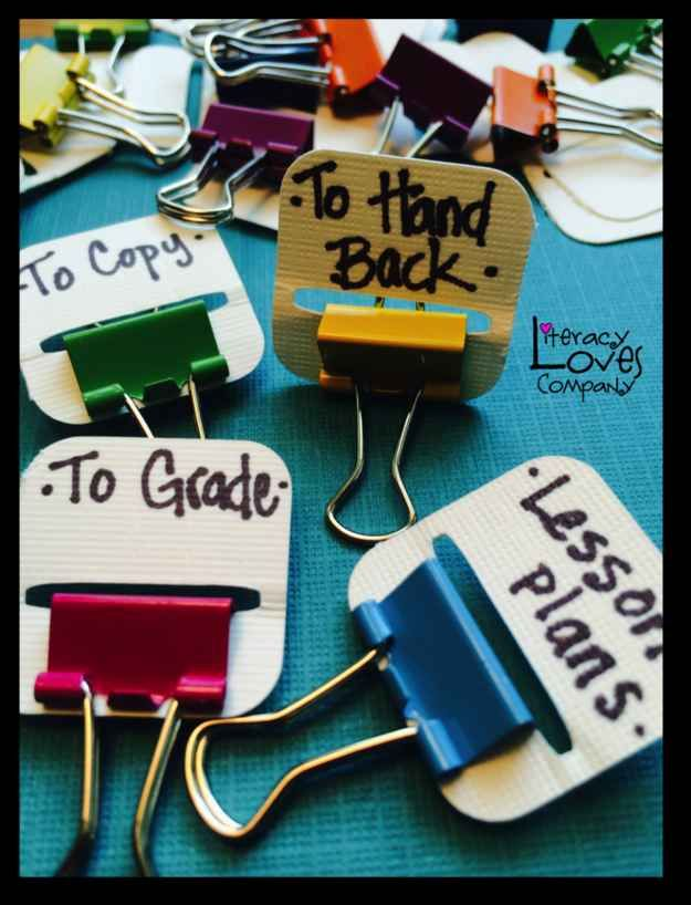 Little DIY binder clips for organising classroom papers for teachers