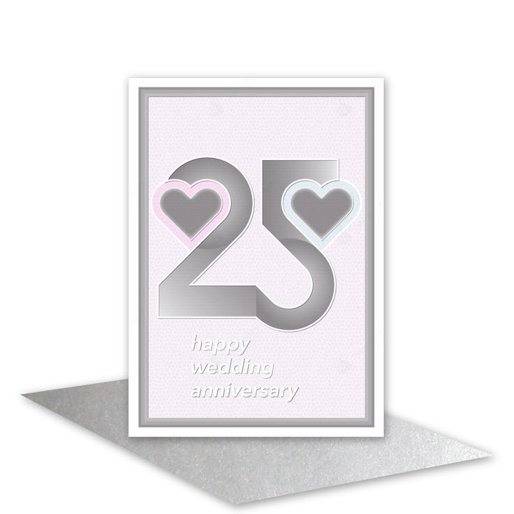 Silver wedding anniversary card 25th wedding congratulations silver grey 25 typography hearts blank or optional personalised message inside - pinned by pin4etsy.com