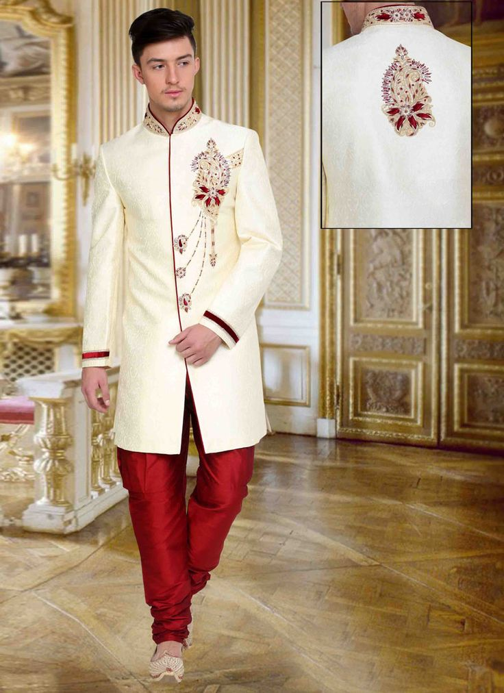 This exclusive white brocade wedding sherwani is adorned with exclusive designer embrodiery work. Stole and mojari can be purchased additionally. They are not a part of this sherwani. Any biggest size possible.