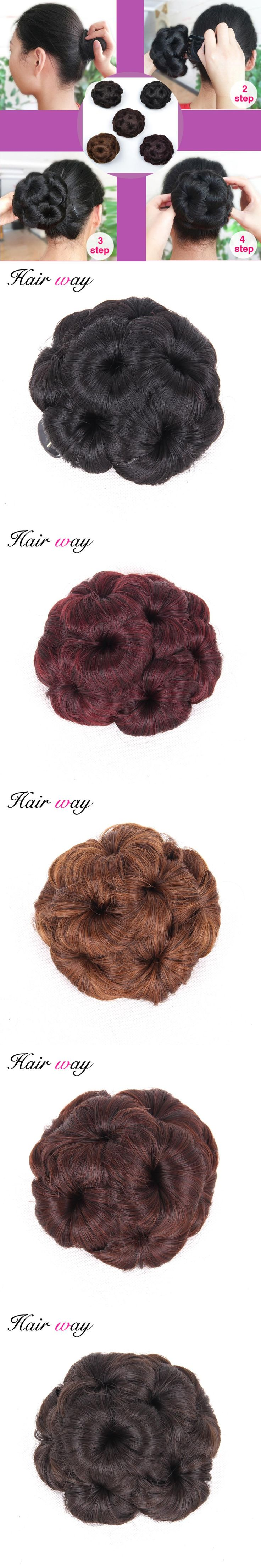 Hair Way 9 Hair Flowers Claw Chignon 6 Colors Hair Bun Accessories On Ponytail Hair Piece With Heat Resistant Synthetic Fiber