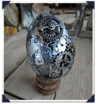I may need to make this. With a little clay, clockwork dragon in a crack. Late easter-y project.