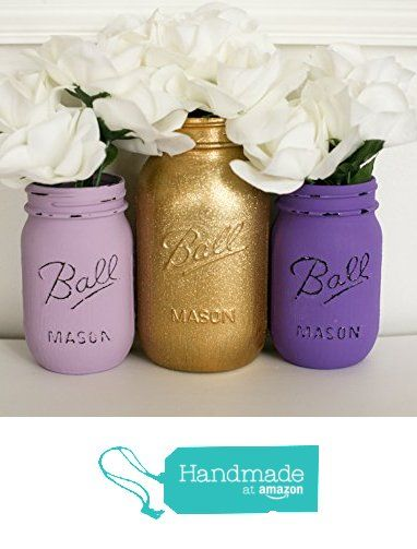 Painted Distressed Mason Jars - Purple and Gold Glitter- Wedding Centerpiece from Pink Birdie Jars https://www.amazon.com/dp/B016LL95QQ/ref=hnd_sw_r_pi_dp_Zi17wbXKR5DJW #handmadeatamazon