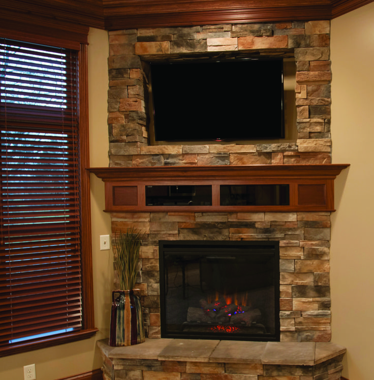 This Fireplace Is Comprised Of Dutch Quality Earth Colored Stone With  Stained Poplar Mantle U0026