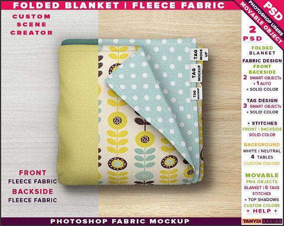 Top View Folded Blanket Fleece Fabric Blanket Photoshop Print