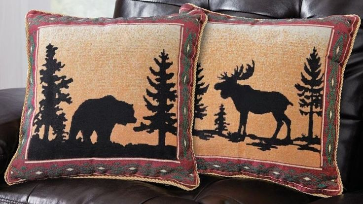 Reversible Northwoods Rustic Lodge Polyester Throw Pillow Cover Dark Red Border  #ThrowPillow #Pillow #DarkRedBorder #Reversible #Northwoods #RusticLodge #Rustic #Polyester #Border #Lodge #DarkRed
