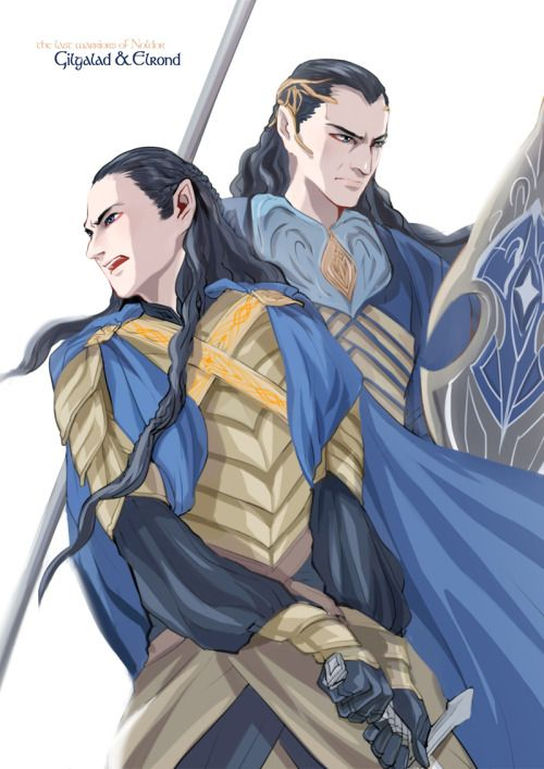 r-navy:Gil-Galad &Elrond   That country had of old been named Lindon by the Noldor Gil-galad son of Fingon was their king, and with him was Elrond Half-elven, son of Eärendil the Mariner and brother of Elros first king of Númenor. - The Silmarillion