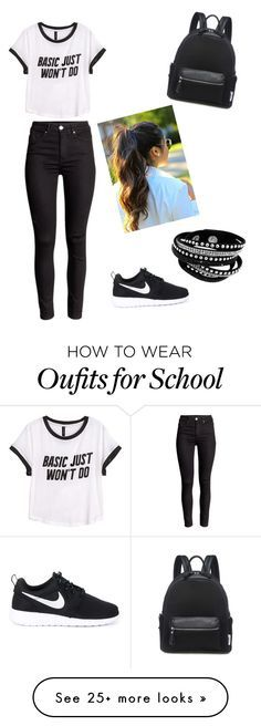t-shirt, broek, nike's, armbandjes, rugzak, hoge staart, zonnebril