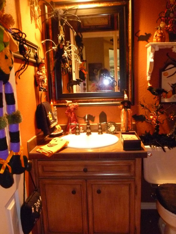 decorationhalloween bathroom decorating ideas with scary halloween furnitures with wooden bath vanity plus mirror
