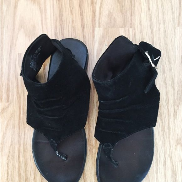 Urban Outfitters Ankle Wrap Sandals Black suede ankle wrap sandals in good condition! Lightly worn. Urban Outfitters Shoes Sandals