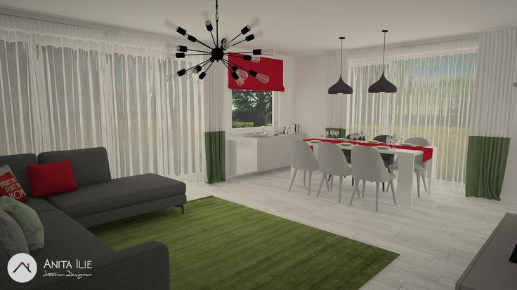 Livingroom with Dining design by Anita Ilie Casa Patrata