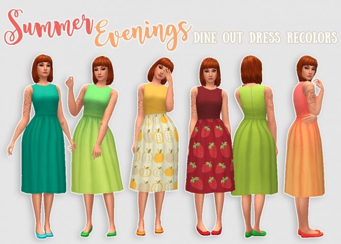 Summer Evenings 50 dress recolors at Hamburger Cakes via Sims 4 Updates