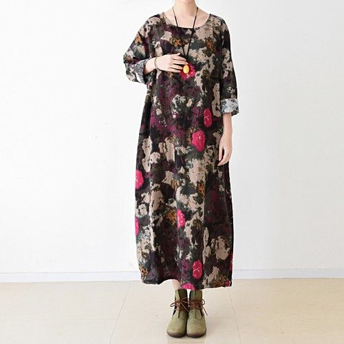 Black floral cotton maxi dress oversized caftansThis dress is made of cotton linen fabric, soft and breathy, suitable for summer, so loose dresses to make you comfortable all the time.Measurement:One Size:   Shoulder 48cm / 18.72