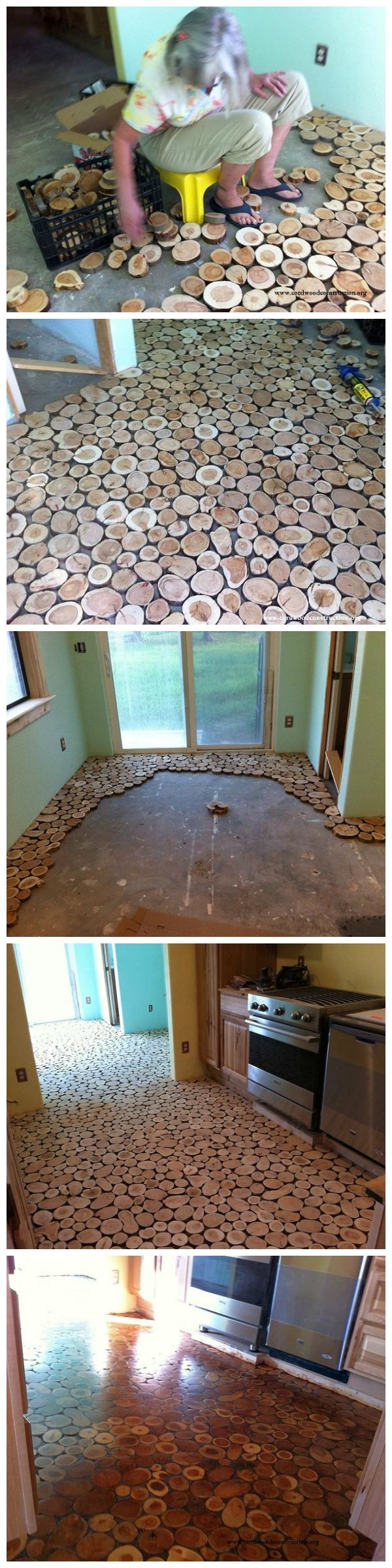 Cordwood Flooring by Sunny Pettis