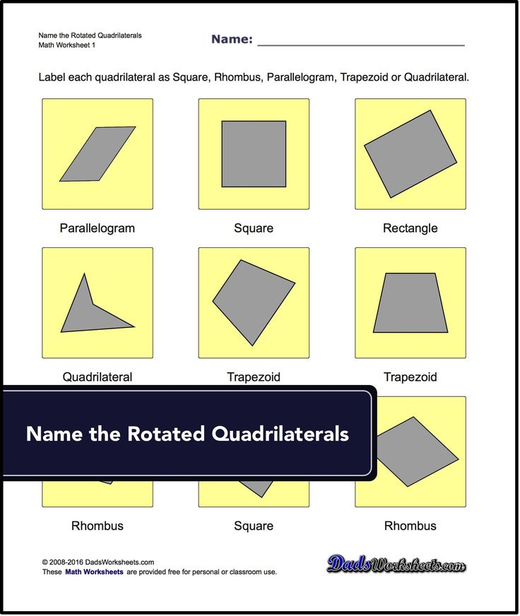 Our geometry worksheets require students to identify and name basic quadrilaterals, triangles and polygons.   #geometry #math #worksheets #polygon #triangle #free #basic