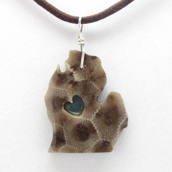 I Heart Michigan Petoskey Stone/Leland Blue Pendant
