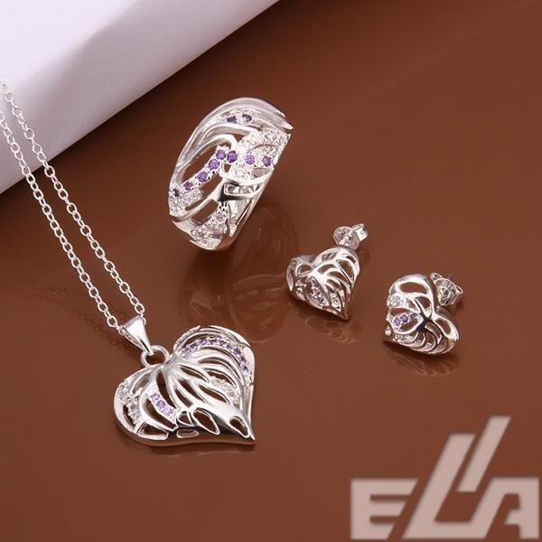 Серебряный позолоченный противоаллергические свадебные украшения в форме сердца кольцо размер 8 ожерелье серьги европейский стиль комплект