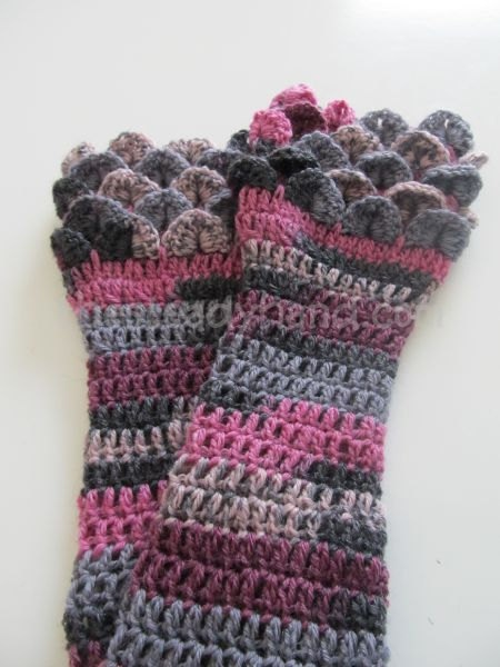 Purple Pink and Grey Crocodile Stitch Armwarmers by TheSteadyHand, $20.00