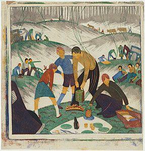 """Bank holiday"" by Ethel L Spowers (six block linocut,1935) #art #linocut"