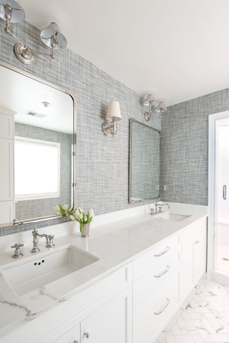 1946 yellow and grey tile bathroom -  Camerareadyinteriors Anna Matthews Interiors