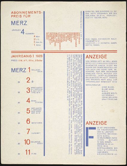 table of contents--El Lissitzky, Merz backcover