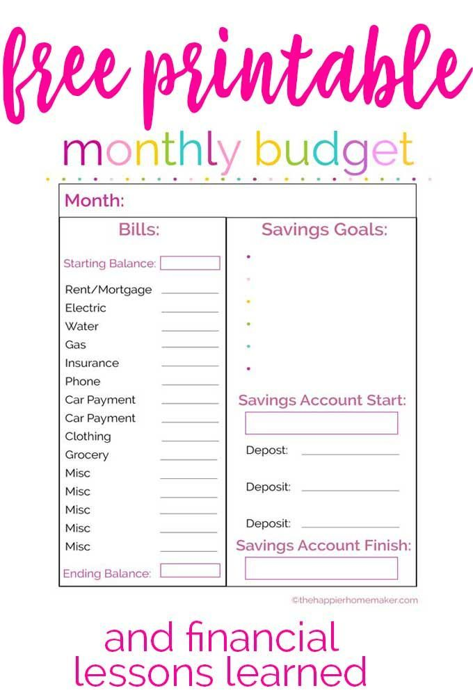 Free printable monthly budget worksheet-and learning lessons about financial planning.