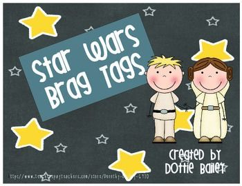 """This product contains 6 different """"brag tags"""" with a Star Wars theme:Jedi MasterYou're a Trooper!Yoda Best!Wookie WinnerYou R-2 Smart!You Rule!Use these to reward students for good behavior, good work, or for meeting an academic goal. My kiddos keep their tags on a very large notebook ring which hangs on a hook on the side of their desk."""