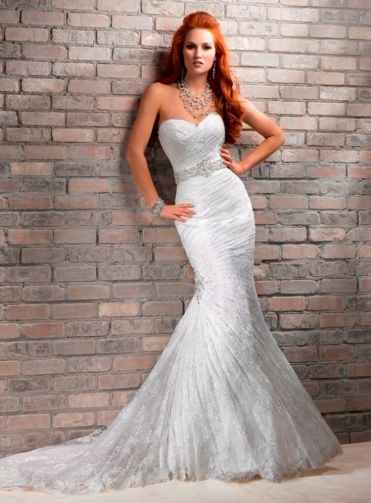 Mermaid Sweetheart All Over Ruching Beaded Belt Lace Wedding Dress Wm0061,  $219.95