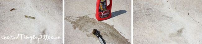 Drano to remove grease stains from concrete.
