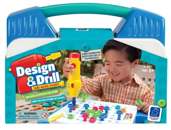 Power up your child's imagination with the Design & Drill Activity Centre! Builds co-ordination and creative skills as children drill chunky, child-sized components into a sturdy board.