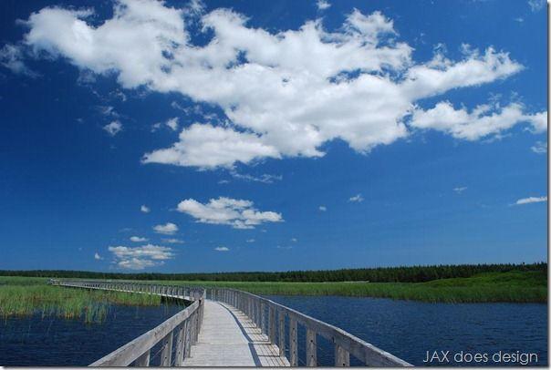 PEI - Prince Edward Island, Canada. Long boardwalk.