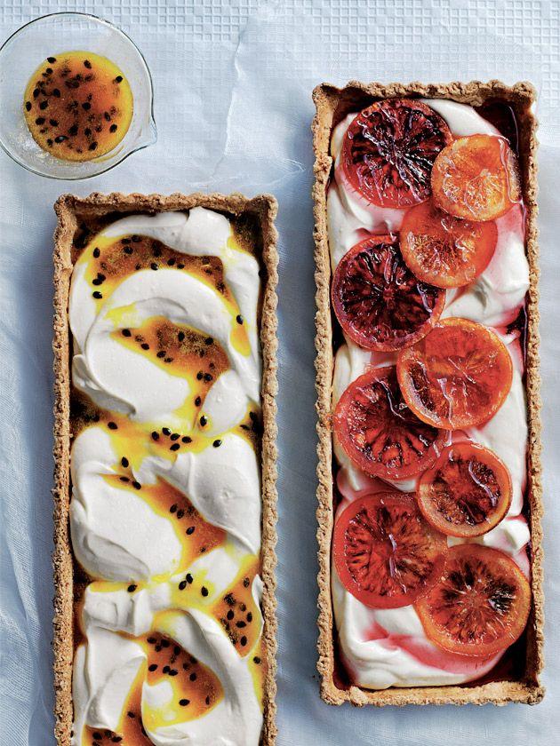 passionfruit and blood orange ricotta tarts