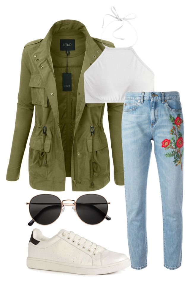 """Untitled #641"" by aniloracfilipe ❤ liked on Polyvore featuring LE3NO, J.Crew, Gucci, H&M, Summer, bikini, military and embroidery"
