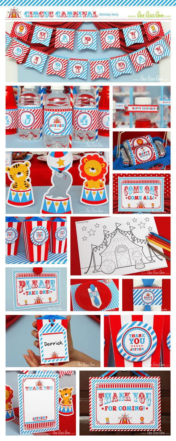 Circus Birthday Party Invitation Personalized by LeeLaaLoo on Etsy, $14.00